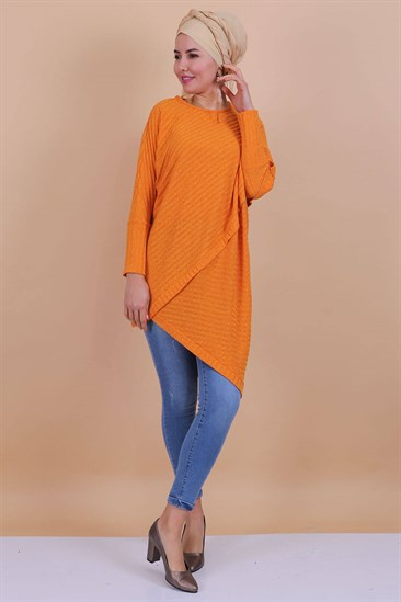 Asymmetric Cut Tunic Mustard