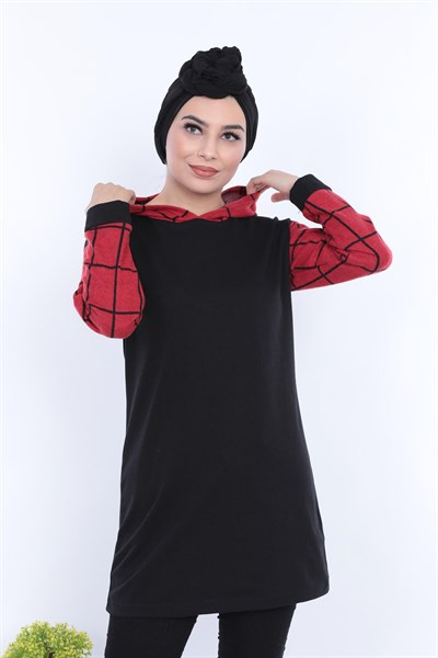 Kapşonlu Tunik TKM2855 Bordo